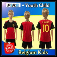 Wholesale 2017 Belgium Soccer Jerseys Kids Youth Child kits E HAZARD DE BRUYNE Euro Cup LUKAKU FELLAINI KOMPANY Jerseys shorts sets Futbol Shirts