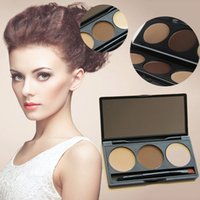 Wholesale 3Color Eyebrow Powder Eye Brow Palette Cosmetic Makeup Shading Kit Brush Mirror
