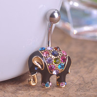 Wholesale 18K Gold Plated Colorful Enamel Cute Elephant Dangle Belly Ring Body Piercing L Surgical Steel Navel Jewelry Pircing Grillz