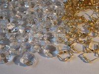 Wholesale Free Shippping MM AAA HOLE CLEAR OCTAGON CRYSTAL GLASS BEADS CHANDELIER CHAIN PART With Metal Connector
