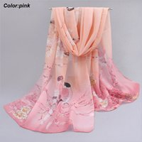 best sunscreen - Best price new latest fashion summer long pink chiffon scarf beach sunscreen scarf with Chinese style pattern