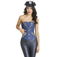 Wholesale Sexy Navy Lingerie - S-XXL New Hot Navy Blue Strapless Shapewear Lingerie Waist Training Corset Costume Plus Size Shaper Sexy Cosplay Lingerie W46240