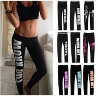 Wholesale New Arrive Woman Clothing WORK OUT Letters Leggings Slim Sexy Sportswear Gym Sports Fitness Leggings Winter Yoga Pants