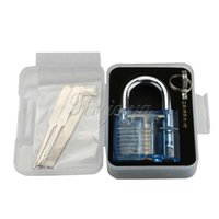 Wholesale Cutaway Cylinder Blue Practice Padlock Training Skill Pick set for Locksmith Locks Job Keys