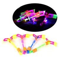 Wholesale DHL LED Flying Arrow Helicopter Funny Luminous Amazing Slingshot Flying Arrow Umbrella Kids Toys LED Light Up Christmas Flash Toys