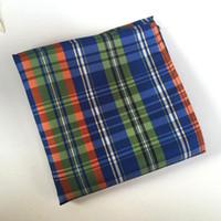 Wholesale Men Jacquard Hankerchief Cotton Plaid Handkerchiefs cmx25cm Pocket Square