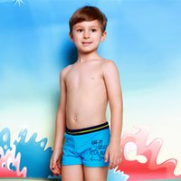 Wholesale 2016 New Fashion Cartoon Printing Boys Swimming Trunks Little Kids Babys Childrens Students Boxer Swimwear Blue And Red