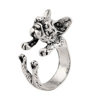 american bulldog black - Drop Ship French bulldog ring Black Antique Silver Antique Bronze Women s Retro Burnished Animal Dog Ring