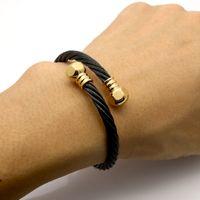 american nuts - Full k Gold Plated Wire Men Charm Screw Nut Bracelets Bangles High Quality Titanium Steel New Women Fashion Jewelry