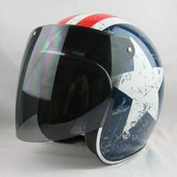 Wholesale TOP quality snap jet motorcycle vintage helmet shield lens open face moto helmet glasses scooter retro Helmets visor cascos para moto