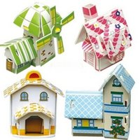 Wholesale New Set of Multicolor D Creative DIY Small Hut House Puzzle for Kids
