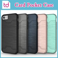 Wholesale For iPhone Plus Case Card Slot Case Credit Card Pocket Hybrid Armor Brushed Holder Cover With Kickstand For iPhone