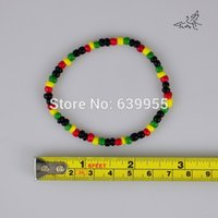 Cheap Wholesale-40x Rasta Reggae Punk Hiphop Elastic Stretch Bracelets Glass Seed Beads Bracelet Fashion Jewelry