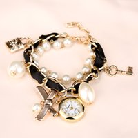 Women's artificial glasses - Bracelet Watch Rudder bowknot colorful Lady Quartz Wristwatches Artificial pearls Women Rhinestone Watches New PromotionsXR623