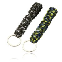 Wholesale 2pcs Paracord Parachute Cord Emergency Survival Tool Knot Keychain Key Ring Camping Hiking Travel Kits Y0092