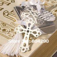 Wholesale Exquisite cross design metal bookmark with blue silk tassel