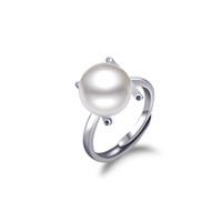 Anneau en argent massif avec perle pour femmes, anneau en argent flexible en gros pour la taille de l'anneau 5 à la taille 9, anneau en argent réglable - RS03802