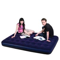 Wholesale Single And Double Indoor And Outdoor Air Mattress For Household Flocking Inflatable Bed Multiple Sizes