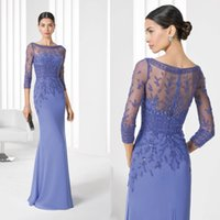 Wholesale Chiffon Gowns For Ladies - 2016 New Mother Groom Dresses For Ladies Womens Cheap 3 4 Sleeves Bateau Mother of Bride Dresses Wedding Party Formal Evening Gowns EN81018