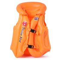 Wholesale 3 Size Child Safety thick PVC inflatable life jacket swimsuit swim Vest Kids Inflatable Life Vest Baby Swimming Vest Clothing