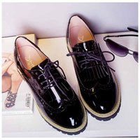 b colleges - Spring And Autumn England College Wind Shoes Women Shoes Thick With Patent Leather Shoes Women Bullock