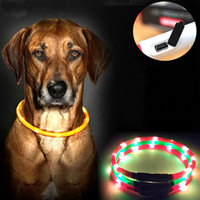 Wholesale Collars For Big Dogs - Dog Collar Led Lights Adjustable USB luminous Led Dog Collar USB charging pet supplies dog Teddy Led Light collars for big dogs