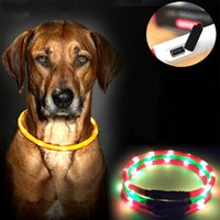 big dog lead - Dog Collar Led Lights Adjustable USB luminous Led Dog Collar USB charging pet supplies dog Teddy Led Light collars for big dogs