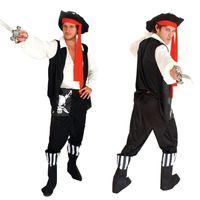 adult costume shop - 2016 Men Cosplay Costumes Ployeter Pirate Halloween Cosplay Costume for Adult set wader hat belt coat drop shopping