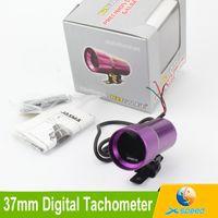 Wholesale 37mm Digital Car Tachometer Gauge Rpm Meter Red LED Mini Smoke Purple Tachometer Rpm Gauge Universal Car Meter Auto Gauge