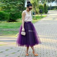 aline dress - Fashion Regency Purple Tulle Skirts For Women Summer Girls Short Party Dresses Tea Length Satin Waist Multi Layer Aline Midi Skirts
