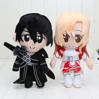 art online games - Anime Cos quot cm Sword Art Online Sao Asuna Kirigaya Kazuto Kirito Stuffed Plush Toys Dolls