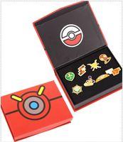 Wholesale Pocket Monster Poke Badge Badges Pikachu Brooch Breastpin Ash Ketchum Zinc Alloy Anime Figure Poke Go Toys Kids Christmas Gifts