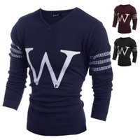 Wholesale New Arrival Mens Sweater Fashion Brand Pull Homme Letter quot w quot Design V neck Long Sleeve Sweaters Men Casual Pullovers M xxl H9024