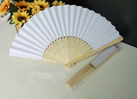bamboo sheet material - Chinese Paper Folding Fan Handheld Fan white color Children s Painting painted fan Kindergarten creative diy handmade material paper fans