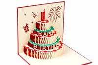 Wholesale Carve empty greeting card paper D stereoscopic creative birthday cake candle postcard Greeting Card