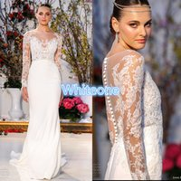 barge pictures - Anne Barge Bohemian Wedding Dresses Sheer Long Sleeves Appliques Sweep Train Bateau Neck Cheap Vintage Beach GardenBridal Wedding Gowns