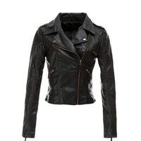 Wholesale New products Women Black PU Leather Jackets Autumn Fashion Long sleeve Zipper Slim Lapel Motorcycle Faux Leather Jacket Coats Plus Size