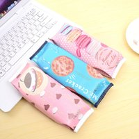 Wholesale Hot Korean Creative Macaron Cracker School Pencil Case Cute PU Leather Pen Bag Kawaii Stationery Pouch Office School Supplies