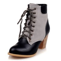 ankle bootie shoes - Women martin boots ankle high lace up multicolored shoes square heel chic and fashion bootie new arrival on sale SCP028