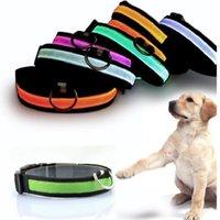 batteries dog leashes - pet product led flashing collar led light dog cat collars leashes nylon necklace with battery
