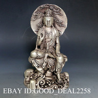 oriental statues - Vintage Oriental Chinese Silver Copper Hand carved Buddha Statue Buddha