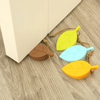 Wholesale 4Pc Leaf Shaped Window Door Stops Set Home Decor Door Stopper Silicon Doorstop Safety for Baby Home Garden Supplies