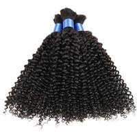 afro braiding hair - In stock factory price human hair bulk brazilian bulk hair for braiding afro kinky curly human bulk hair for braiding