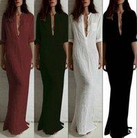 beach linen shirts - Vestido Plus Size Autumn Casual Long Sleeve cotton Dress Sexy Deep V Neck Linen loose Long Maxi Cheap beach white dress FS0657