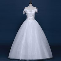 Cheap LY51 100% Real Photo Bateau Short Sleeve Plus Size Custom Made Wedding Dress 2016 Bridal Dresses Ball Gown Vestidos Vestido De Noiva