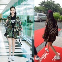 Wholesale 2016 Autumn Middle_Length Women s Outerwear Coats Loves Loose Camo Embroidery Epaulet Trench Coats Ladies Cloth Overcoat