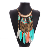 Wholesale 2016 Fashion personality tassel necklace European and American style Bohemian beads feather tassel necklace