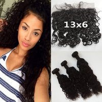 Wholesale 100 Human Hair Peruvian Water Wave Hair Bundles With Lace Frontal Closure x6 Density Can Be Dyed