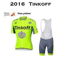 achat en gros de cycles de maillot jaune-2016 Tinkoff Nouveau Fluo jaune vert Cyclisme Vêtements Ciclismo / Vélo Vêtements / Mountain VTT vélo vêtements Maillot Ciclismo