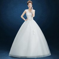 b contract - 2016 Bubble Skirt V Shape Collar Back Strap Inlaid Bright Diamond Korean Contracted Shoulders Neat Show Thin Wedding Dress B